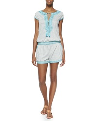 Calypso St. Barth Luseli Short Striped Romper White Blue