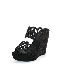Rene Caovilla Wavy Crystal Detailed Suede Wedge Sandal