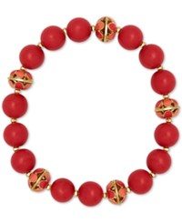 Anne Klein Gold Tone Red Beaded Stretch Bracelet