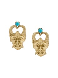 Iosselliani Puro Satyr Earrings Gold Plated Sterling Silver Stone Metallic