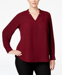 Nine West Plus Size Long Sleeve Crepe Top Wine
