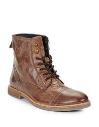 Ben Sherman Luke Lace Up Leather Boots Brown
