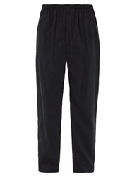 Lemaire Washed Silk Blend Trousers Navy