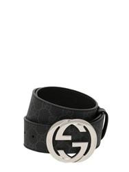 Gucci 40Mm Gg Supreme Logo Leather Belt Black