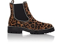 Alexander Wang Spencer Leopard Print Calf Hair Chelsea Boots Brown Pat.
