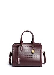 Alexander Mcqueen 'Padlock' Small Tribal Perforated Leather Tote Red
