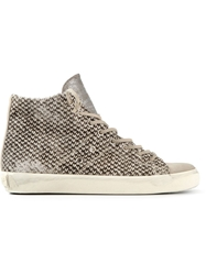 Leather Crown Animal Print Hi Top Sneakers Nude And Neutrals