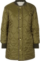Tory Burch Rylee Shell And Faux Shearling Coat Green