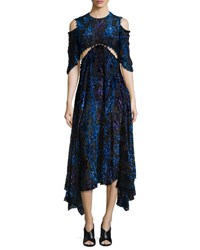 Prabal Gurung Velvet Burnout Short Sleeve Dress Black Blue Black Blue