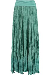 Donna Karan Broomstick Crinkled Silk Georgette Maxi Skirt Blue