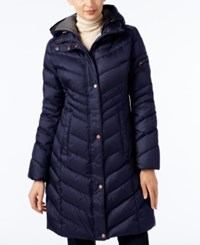Marc New York Chevron Hooded Down Coat Navy