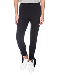 Bobeau Solid Tie Up Cuff Ankle Pants Black