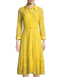Nanette Nanette Lepore Belted Floral Lace Illusion Shirtdress Yellow