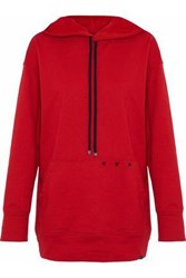 Koral Studded Cotton Jersey Hoodie Red