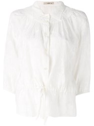 Etro Embroidered Semi Sheer Blouse White
