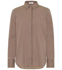 Brunello Cucinelli Embellished Cotton Blend Shirt Brown