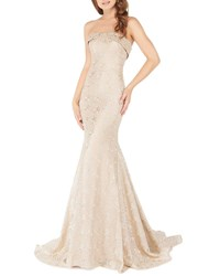 Mac Duggal Strapless Metallic Lace Trumpet Gown With Train Gold Dust