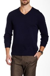 Qi Cashmere V Neck Sweater Blue