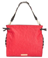 Betsey Johnson Flower Strap Hobo Red