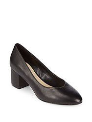 Saks Fifth Avenue Amaya Block Heel Leather Pumps Black