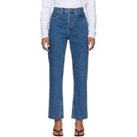 Re Done Blue High Rise Stove Pipe Jeans