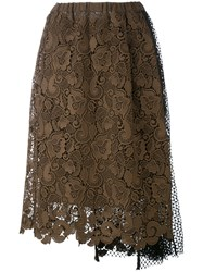 N 21 No21 Lace And Netting Skirt Women Silk Polyester Acetate 40 Brown