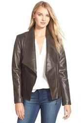 Soia And Kyo 'Nerissa' Oversize Collar Leather Jacket Brown