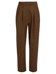 Isa Arfen Checked Wool Cropped Trousers Brown Multi
