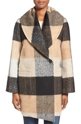 Badgley Mischka 'Maxine' Plaid Oversize Coat Camel