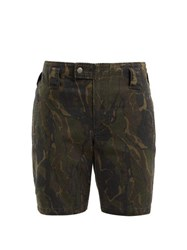 Saint Laurent Camouflage Print Cotton Blend Longline Shorts Green Print