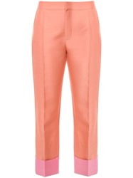 Dice Kayek Two Tone Cropped Trousers Pink