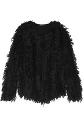Dkny Fringed Knitted Jacket Black