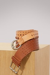 Maison Martin Margiela Perforated Double Belt Brown