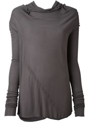 Rick Owens Draped Collar T Shirt Grey