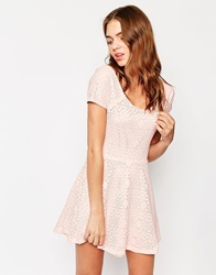 Club L Cross Back Skater Dress In Aztec Lace Pink