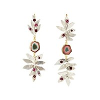 Julie Wolfe Mixed Gemstone Fern Mismatched Drop Earrings Red