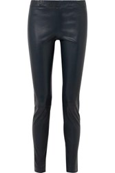 The Row Stretch Leather Skinny Pants Navy