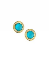 Elizabeth Showers Audrey Turquoise Button Earrings With Diamonds Blue