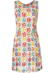 Chanel Vintage Camellia Print A Line Dress Multicolour