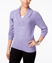 Karen Scott Marled Shawl Collar Sweater Only At Macy's Purple Bliss