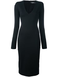 Dsquared2 Fitted Long Sleeved Dress Black