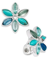 Anne Klein Silver Tone Blue And Clear Stone Flower Clip On Stud Earrings