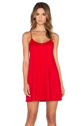 Susana Monaco V Neck Mini Dress Red