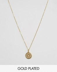 Ottoman Hands Crown Chakra Pendant Necklace Gold