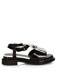Robert Clergerie Coco Tassel Front Patent Leather Sandals Black White