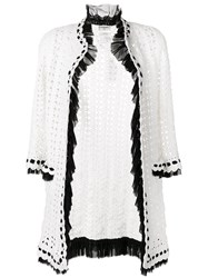 Chanel Vintage Crochet Knit Cardigan White