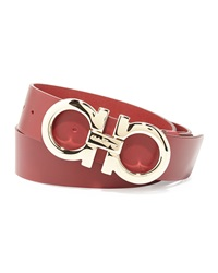 Salvatore Ferragamo Large Gancini Buckle Belt Red