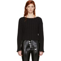 Alexander Wang T By Black Raw Edge Off The Shoulder Sweater