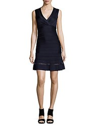 French Connection Mesh Inset Bandage Dress Utility Blue