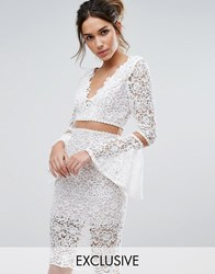 Love Triangle Lace Midi Dress With Flared Sleeves Cream